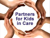 "photo of hands encircling ""Partners for Kids in Care"" text"