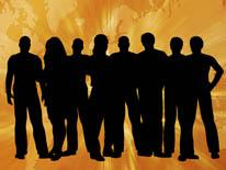 Black silhouette of a group of youth