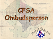 Old DC planning map with CFSA logo and text CFSA Ombudsperson